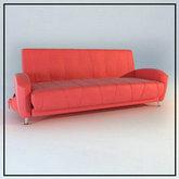 俄罗斯现代家具-红色皮质沙发模型