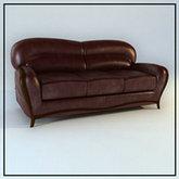 俄罗斯现代家具-深色皮质沙发模型下载