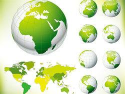 世界地图绿色地球矢量图