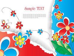 艳丽小花和撕纸背景矢量图