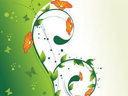 花朵绿叶背景矢量图