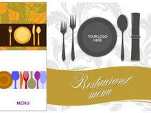 餐厅用品菜单模板矢量图