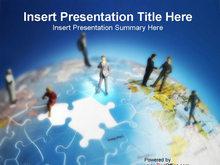 商务合作地球模块拼图PPT模板