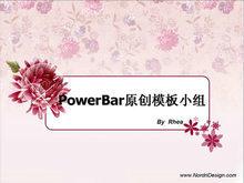 粉色月季花花卉背景PPT模板