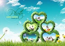 创意相册爱心边框风景PSD素材