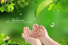 生命水滴绿色桌面PSD素材