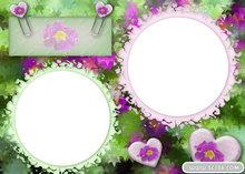 碎花圆形相框PSD模板