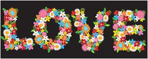 色彩花卉组成的love字母矢量图