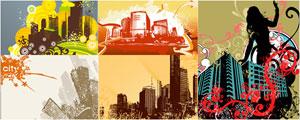 5款潮流城市建筑插画矢量图