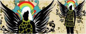翅膀的潮流女性人物矢量图