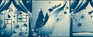 3款蓝色圣诞节插画矢量图