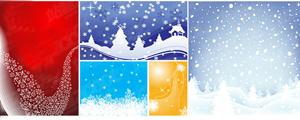 5款雪花飘飘背景矢量图