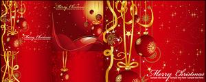 金色丝带挂球圣诞节矢量图