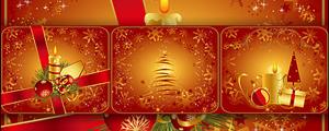 3款红色圣诞节蜡烛圣诞树矢量图