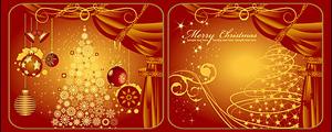 2款红色圣诞树窗帘矢量图