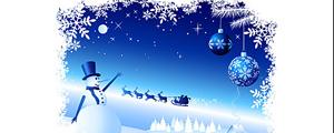 雪花花边雪人雪景矢量图