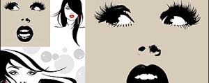 3款女性插图矢量图