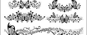 精美蝴蝶花纹矢量图
