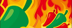 辣椒火焰背景矢量图