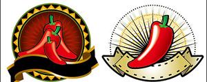 几款红辣椒主题装饰图案矢量图