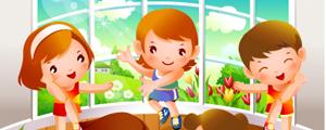 卡通儿童跳健身舞矢量图下载
