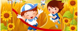 卡通儿童跑步金秋风景矢量图