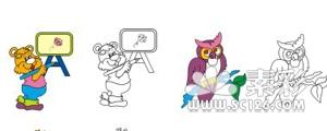 几款动物植物卡通上色效果图矢量图