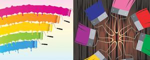 多款色彩斑斓油漆主题矢量图