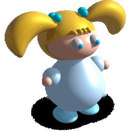 羊角辫的3D小女孩