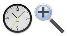 简洁的铅笔、放大镜和时钟PNG图标