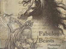 欧式复古画风动物笔刷(马,犀牛等)