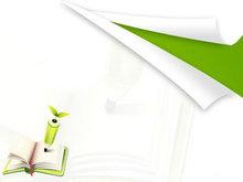 彩笔绿翻页背景PPT模板