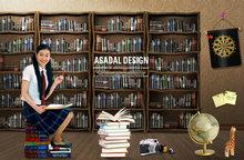韩国读书学习图书馆海报PSD素材