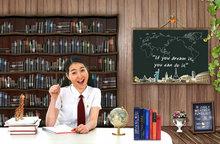 韩国校园课堂学习教育海报PSD素材