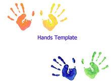 彩色手印艺术PPT模板