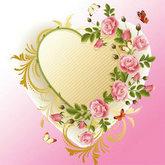 玫瑰心形装饰边框psd素材