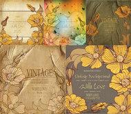 复古花卉线稿背景矢量图