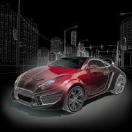 3d汽车模型图片 3d汽车模型图片 汽车模型 名车 红色跑车 高楼大厦