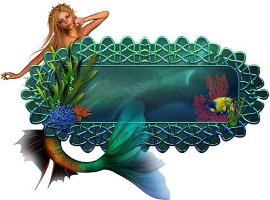 童话美人鱼相框边框PSD素材