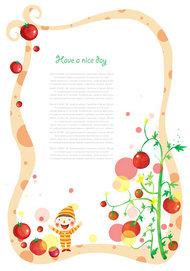 新鲜西红柿卡通边框PSD素材