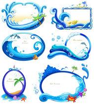 蓝色海洋边框PSD素材