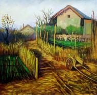 农家小景风景油画图片