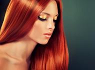 红色直发发型图片
