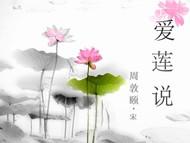 爱莲说中国风背景音乐莲花水墨风古典PPT模版