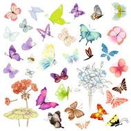 手绘蝴蝶PSD图片