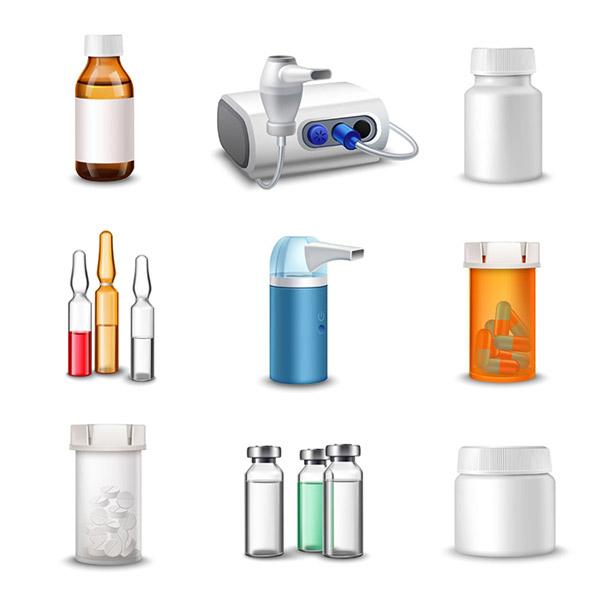 医药药瓶图标矢量图片