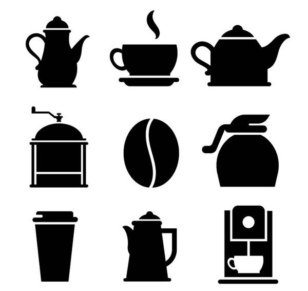 咖啡元素剪影矢量图片