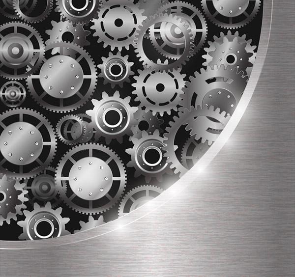 银色质感齿轮组矢量图片