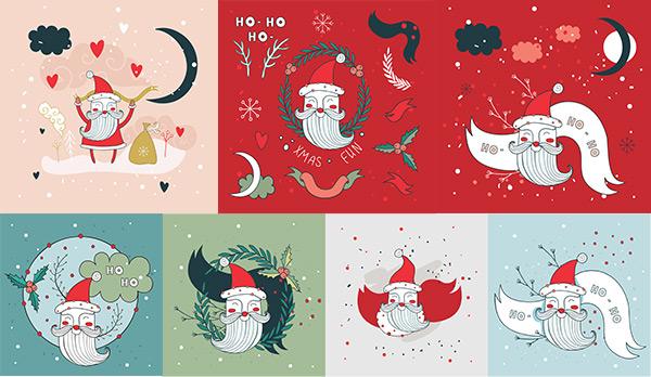 时尚圣诞老人绘画矢量图片