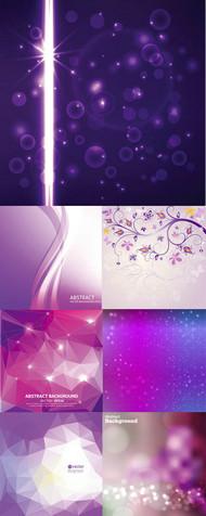 花纹与紫色背景矢量图